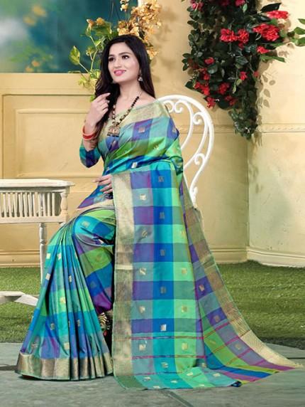 Banarasi Silk With Soft Texture Chex Style Saree - gnp008396
