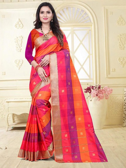 Banarasi Silk With Soft Texture Chex Style Saree - gnp008397