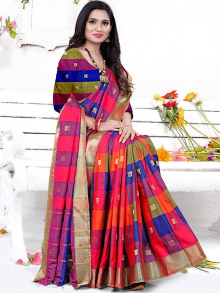 Banarasi Silk With Soft Texture Chex Style Saree - gnp008398