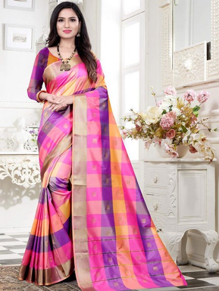 Banarasi Silk With Soft Texture Chex Style Saree - gnp008399