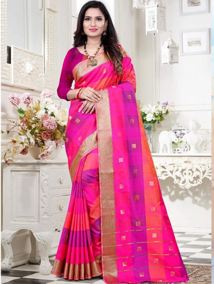 Banarasi Silk With Soft Texture Chex Style Saree - gnp008400