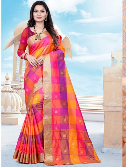 Banarasi Silk With Soft Texture Chex Style Saree - gnp008401