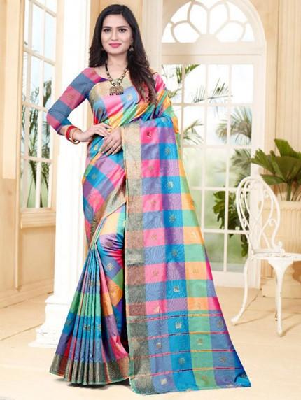 Banarasi Silk With Soft Texture Chex Style Saree - gnp008403