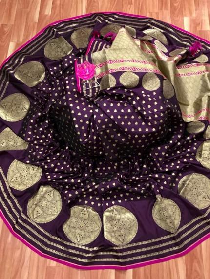 Purple Banarasi Soft Silk Saree