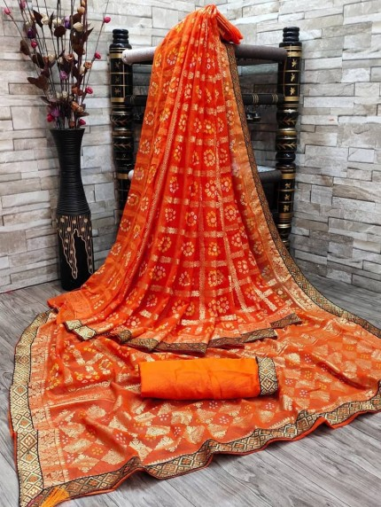 Beautiful Bandhani & Foil Print Saree in Orange