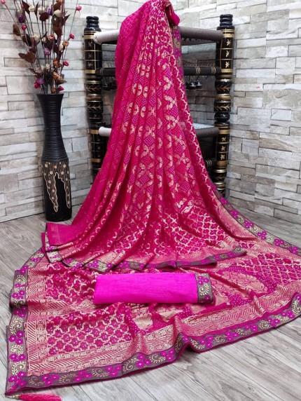 Beautiful Bandhani & Foil Print Saree in Pink