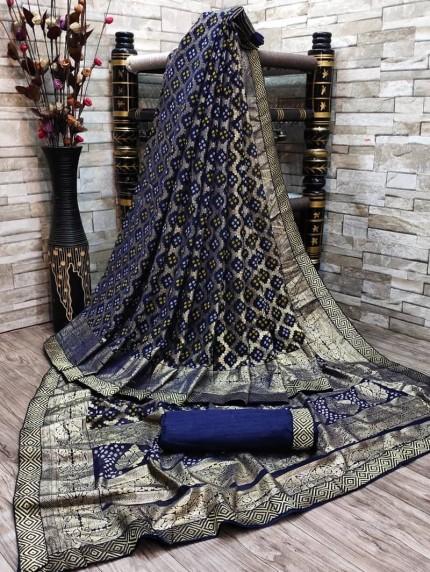 Beautiful Bandhani & Foil Print Saree in Blue