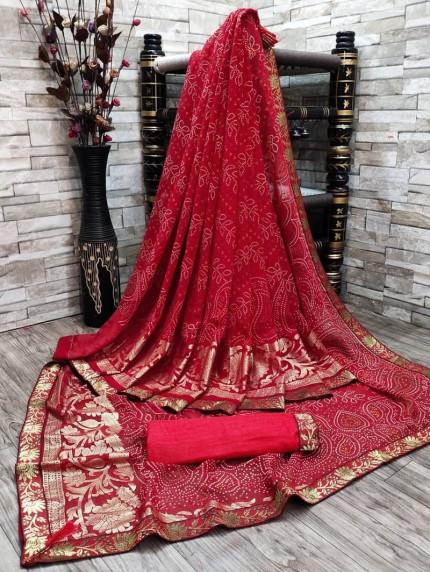 Beautiful Bandhani & Foil Print Saree in Maroon