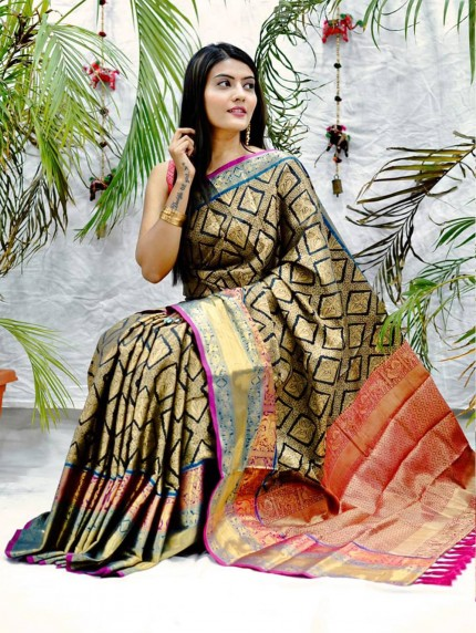 Traditional kanchipuram saree in Black
