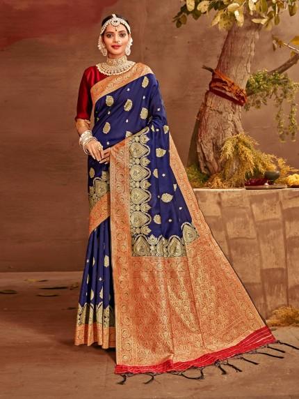 navy blue saree with golden border