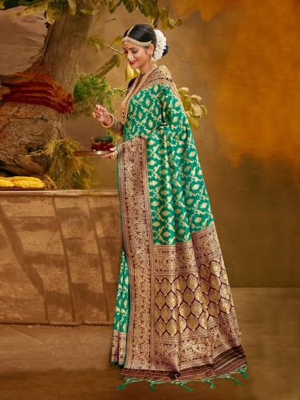 grabandpack Beautiful Green Silk Saree With Blouse