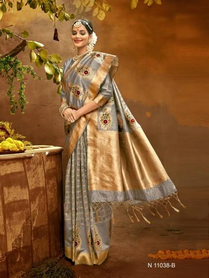 grey saree with blouse