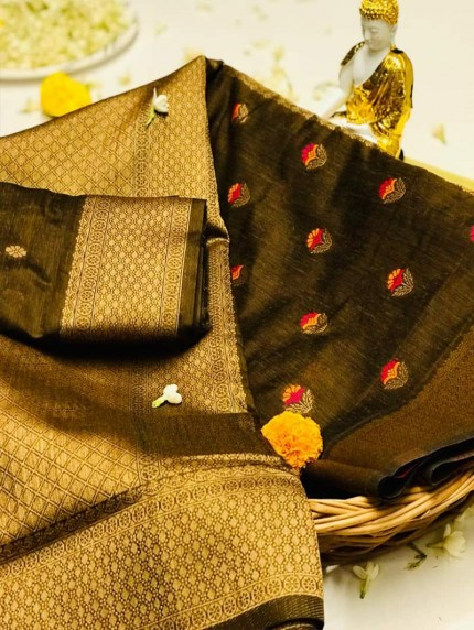 Beautiful Look Pure Linen Silk jacquard weaving Saree