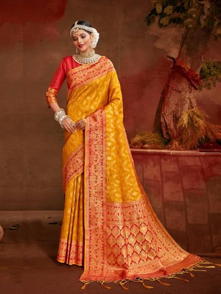 grabandpack Beautiful Orange Silk Saree With Blouse