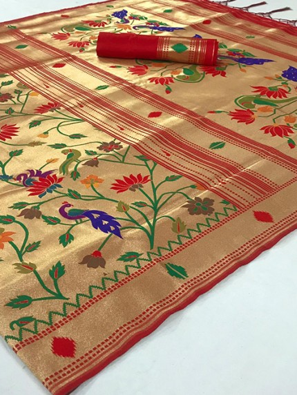 Beautiful Paithani Pure Weaving Silk Saree - gnp008887