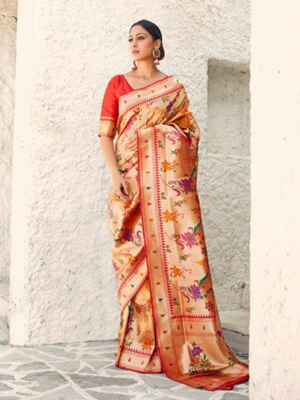 Beautiful Paithani Pure Weaving Silk Saree - gnp008895