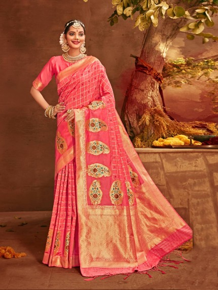 pink colour saree