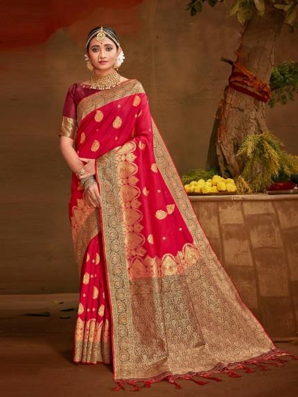 dark pink saree at grabandpack