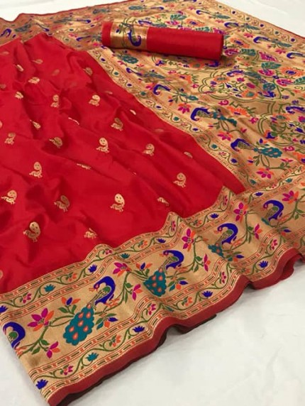 Beautiful Red Paithani Pure Weaving Silk Saree - gnp009040