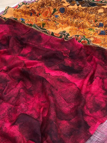 Beautiful Satvario Print Linen Saree - gnp008392