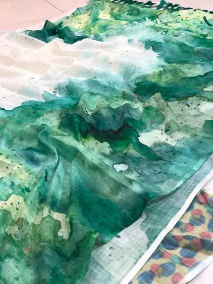 Beautiful Satvario Print Linen Saree - gnp008395