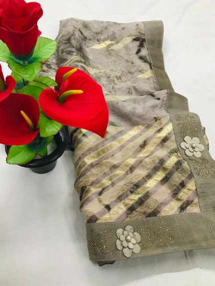 Beige Beautiful Export Quality Imported Original Mashkali Prizim Foil Saree - gnp0108682