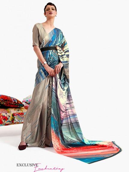 Beige Japanese Silk Digital Printed Saree With Blouse - gnp0108675