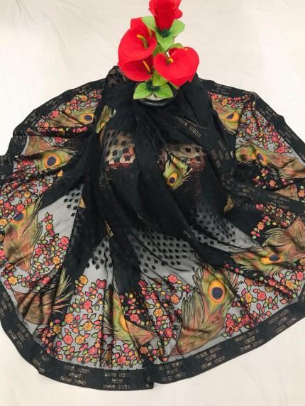 Black Brasso Fabric With More Pankha Design & Stone Work - gnp0108819