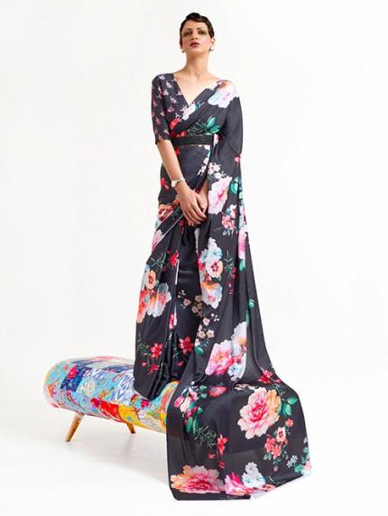 Black Japanese Silk Digital Printed Saree With Blouse - gnp0108674