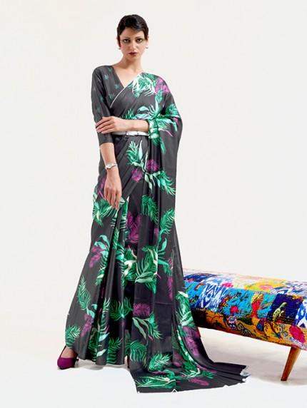 Black Japanese Silk Digital Printed Saree With Blouse - gnp0108678