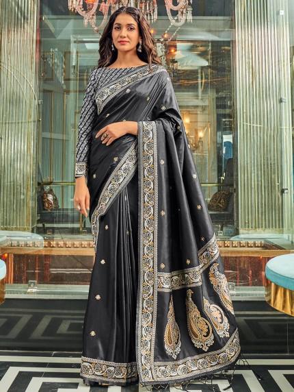 Black Pure Silk Fabric With Dual Shade Weaving Saree - gnp0108895
