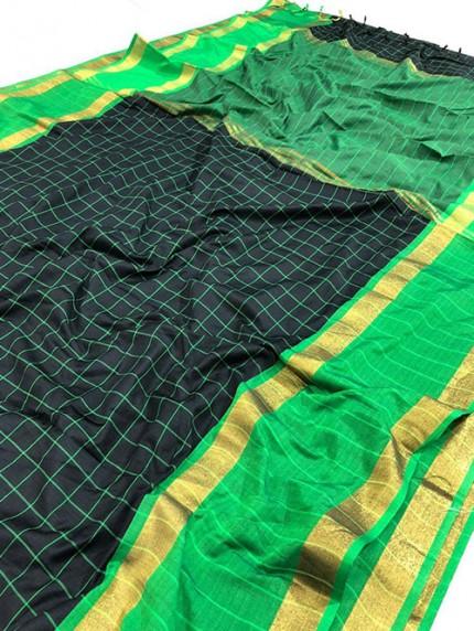 Black Pure Upada Silk With Gold Kasab Zari Yarn Saree - gnp008345