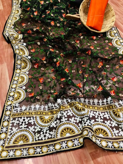 Black Saree In Organza With Shining Stone And Flower Embroidery with Embroidery Border Design Online