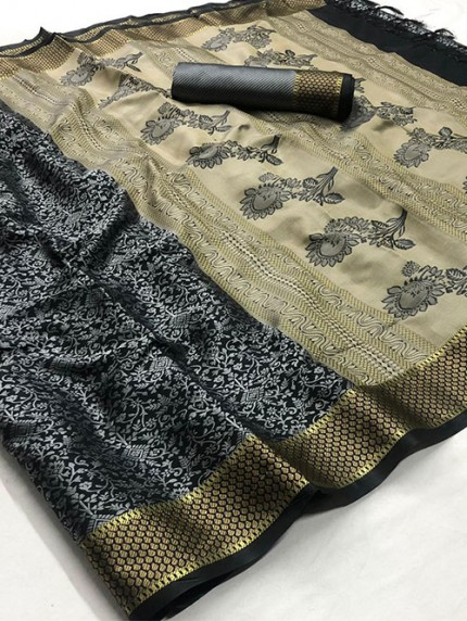 Black Self Satin Handloom Weaving Silk Saree - gnp008381