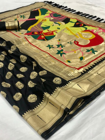Black Soft Pure Silk Paithani Weaving Rich Pallu Saree - gnp0108768