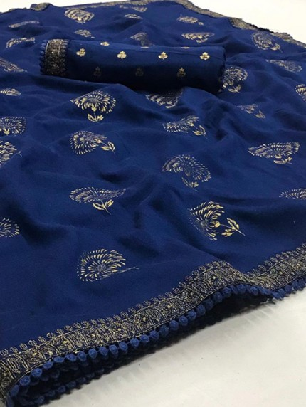 Blue Biba Silk with Gold Print and Lace - gnp008305