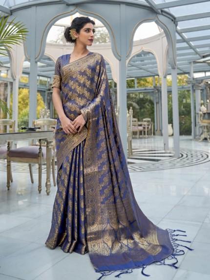 Blue Colored Banarasi Silk Online Saree Shopping - gnp0108030