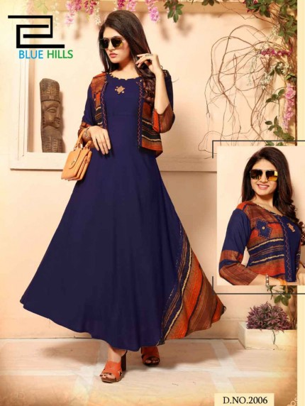 Festive & Party Wear Blue Colored Handwork Rayon Kurti with Separate Jacket