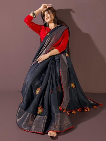 blue Fancy heavy Linen cotton Flax stylish Designer saree with Designer Blouse gnp008198