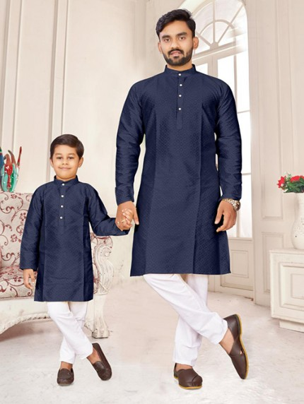 Blue Father and Son Matching Readymade Kurta with Pajama - gnp0108738