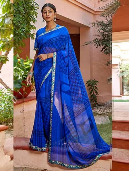 Blue Georgette With Pogo Work and Fancy Blouse - gnp009436