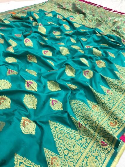Blue Jacquard silk Resham zari work Saree gnp008247 - Silk woven sarees online india