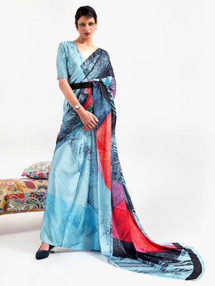 Blue Japanese Silk Digital Printed Saree With Blouse - gnp0108676