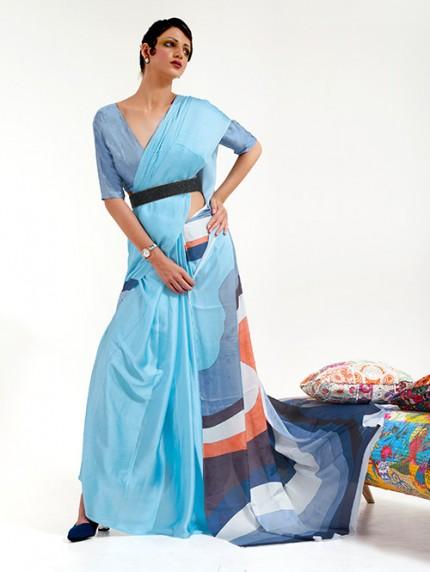 Blue Japanese Silk Digital Printed Saree With Blouse - gnp0108681