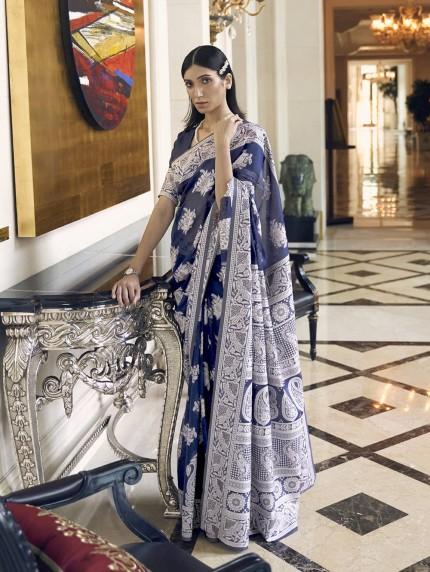 GrabandPack Blue Lucknowi Chikankari work saree