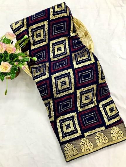 Blue marbal chiffon printed Fancy saree
