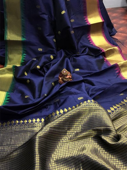 Blue Pure Jacquard Fabrics with Superior Gold Pure Zari Work - gnp010165