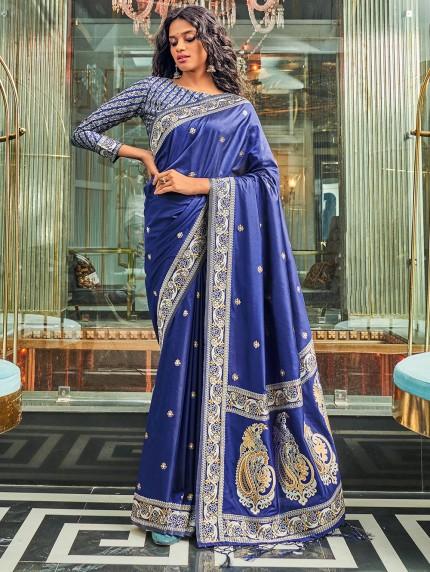 Blue Pure Silk Fabric With Dual Shade Weaving Saree - gnp0108896