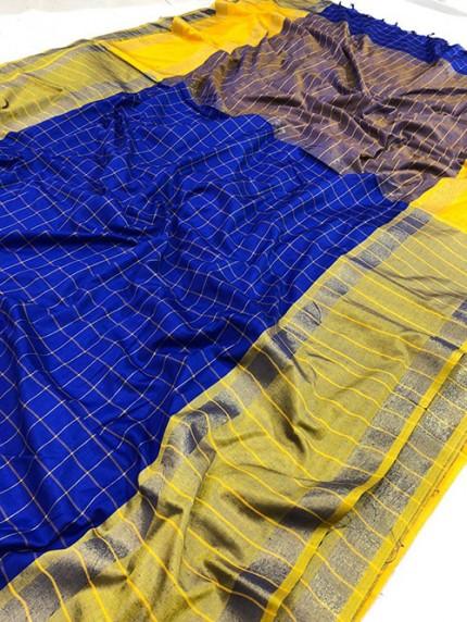 Blue Pure Upada Silk With Gold Kasab Zari Yarn Saree - gnp008346