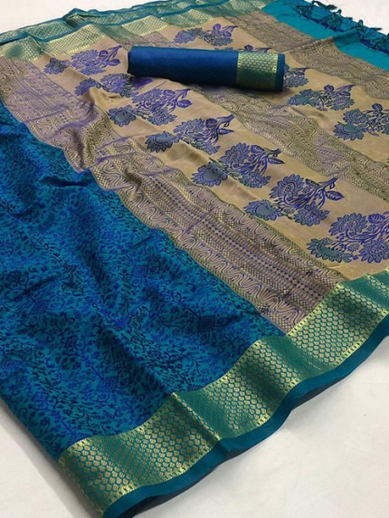 Blue Self Satin Handloom Weaving Silk Saree - gnp008379